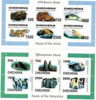 CHECHENIE / Superbe 2 Série De 6 Valeurs Chacunes Sur Bloc Dentelées MNH - Preservare Le Regioni Polari E Ghiacciai