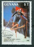 BM Guyana 1988 | MiNr 2408 | Used | Olympische Winterspiele, Calgary, Abfahrtslauf - Guyane (1966-...)