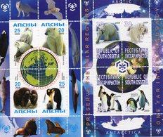 GEORGIE 2009 / Superbe 2 Série De 4 Valeurs Chacunes Sur Bloc Dentelées MNH - Preservare Le Regioni Polari E Ghiacciai