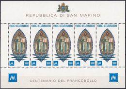 """San Marino 1977; Mi 1147 (BF 38) Foglietto 5x 1000 L. """"CENTENARIO DEL FRANCOBOLLO"""" (San Marinus 275-366) - Christianisme"""