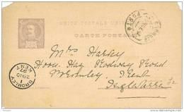 32025. Entero Postal PORTO (portugal) 1897. 20 Reis A England - Enteros Postales