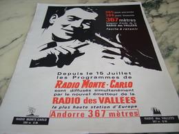 ANCIENNE PUBLICITE RADIO MONTE CARLO ET RADIO DES VALLEES 1964 - Other