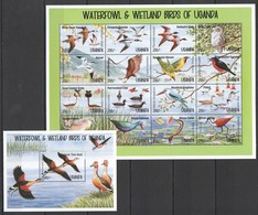 L934 UGANDA FAUNA BIRDS WATERFOWL & WETLAND BIRDS OF UGANDA 1SH MNH - Birds