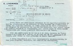 Militaria / Circulaire 1/2 Format 1944 / E. LHOMMEE 54 NANCY / Difficultés Approvisionnement En Sucre - Documents