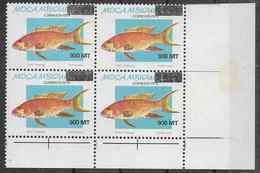1995 MOZAMBIQUE 1303** Poisson ,surchargé,  Bloc De 4 - Mozambique