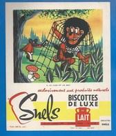 93 - SAINT-OUEN - BUVARD ILLUSTRÉ - BISCOTTES DE LUXE SNELS - FABLE DE LA FONTAINE  N°9 - LE LION ET LE RAT - Biscottes