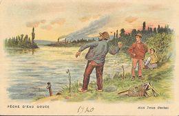 Fiche Illustrée: Pêche Aux Jeux (ou Aux Grelots, Perche) - Illustration: Pêche D'eau Douce - Edition F. Nathan - Fiches Illustrées