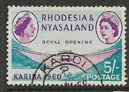Rhodesia & Nyasaland 1960, Kariba Dam Opening, 5/=, Used - Good Part Of C.d.s For KAROI 2 - Rhodesia & Nyasaland (1954-1963)