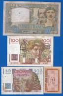 France  8  Billets  Dans  L'etat - 1871-1952 Anciens Francs Circulés Au XXème