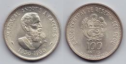 PERU - SILVER 100 INTIS COMMEMORATIVE COIN - 1986 UNC - Peru