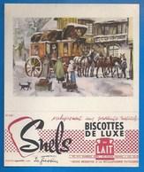 93 - SAINT-OUEN - BUVARD ILLUSTRÉ - BISCOTTES DE LUXE SNELS - ATTELAGE - ARRIVÉE AU RELAIS  - N° 48 - Biscottes
