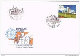 32031. Carta F.D.C. Islas Azores, AÇORES (Portugal) 1983.  Tema Europa - Azores