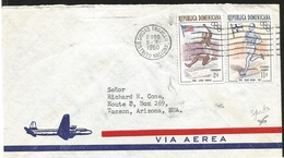 O) 1960 DOMINICAN REPUBLIC, OLYMPIC WINNERS AND FLAG, JESSE OWENS -PAAVO NURMI, AIRMAIL FROM CIUDAD TRUJILLO TO USA - Dominicaine (République)