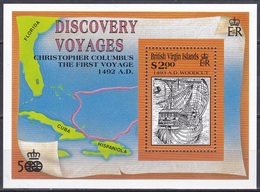 Jungferninseln Virgin Islands 1991 Geschichte History Entdeckung Discovery Kolumbus ColumbusSchiffe Ships, Bl. 69 ** - Iles Vièrges Britanniques