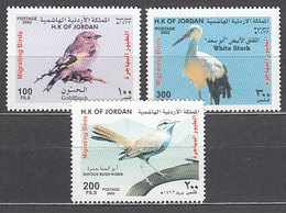 Jordania - Correo 2002 Yvert 1598/600 ** Mnh  Fauna Aves - Jordania