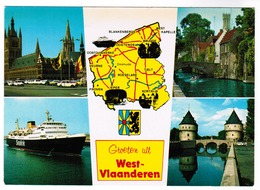 Groeten Uit West Vlaanderen, Oostende, Ieper, Brugge, Kortrijk, Ferry Sealink (pk55700) - Belgique