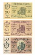 3 Notgeldscheine Pöchlarn 50, 60 + 80 H - Autriche