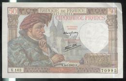Billet 50 Francs France Jacques Coeur 8-1-1942.K. TTB+ - 1871-1952 Antichi Franchi Circolanti Nel XX Secolo