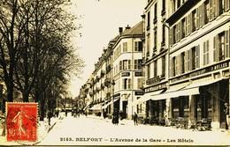 12902 - T  De  Belfort :  BELFORT   AVENUE DE LA GARE   LES HOTELS          CIRCULEE 1910 - Belfort - Ville