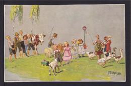 """5 Pf. Privat Ganzsache """"Frühling"""" - Kuh, Schafe, Ziege Und Gänse - Ungebraucht - Ferme"""