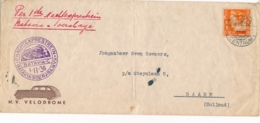 Nederlands Indië - 1936 - 12,5 Cent Wilhelmina Business Cover Met Nachtexprestrein Via Batavia En Soerabaja Naar Baarn - Nederlands-Indië