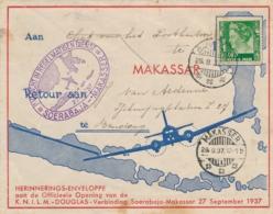 Nederlands Indië - 1937 - 40 Cent Wilhelmina Met Special Flight Bandoeng Naar Makasser/1 (en Terug) - Nederlands-Indië