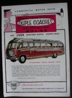 ORIGINAL 1958 MAGAZINE ADVERT FOR BEDFORD-DUPLE SUPER VEGA COACH - Advertising