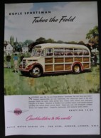 ORIGINAL 1952 MAGAZINE ADVERT FOR DUPLE-BEDFORD SPORTSMAN COACH - Reklame