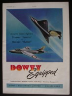ORIGINAL 1952 MAGAZINE ADVERT FOR DOWTY GLOS. JAVELIN@ HAWKER HUNTER - Other