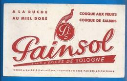 """41 - SALBRIS - BUVARD - PAIN D'ÉPICES DE SOLOGNE """" PAINSOL"""" - À LA RUCHE AU MIEL DORÉ - COUQUE DE SALBRIS - Biscottes"""