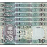 TWN - SOUTH SUDAN 12b - 10 Pounds 2011 DEALERS LOT X 5 - Prefix AS UNC - Soudan Du Sud