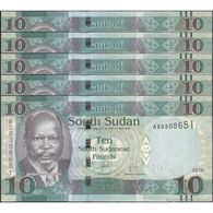 TWN - SOUTH SUDAN 12b - 10 Pounds 2011 DEALERS LOT X 5 - Prefix AS UNC - South Sudan