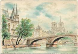 D75 - PARIS - LE PONT SAINT MICHEL ET LE PALAIS DE JUSTICE - ILLUSTRATEUR DUMARAIS - BARRE DAYEZ - Ponts
