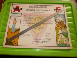 Diplome D'hommage Armée Secrète Hotel à Werpin Hotton Pour Avoir Hébergé Commandant Du Refuge Byl  Sans Livrer De Secret - 1939-45