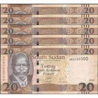 TWN - SOUTH SUDAN 13b - 20 Pounds 2016 DEALERS LOT X 5 - Prefix AK UNC - Soudan Du Sud