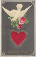 Fancy Card - Pigeon - Rose - Heart - Embossed - Brodées