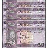 TWN - SOUTH SUDAN 14a - 50 Pounds 2015 DEALERS LOT X 5 - Prefix AD UNC - Sudan Del Sud