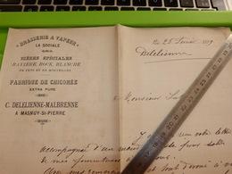 Brasserie à Vapeur La Sociale C Delelienne Malbrenne Masnuy-St-Pierre Masnuy-Saint-Pierre - Facture De 1899 - Belgique