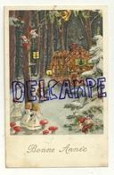 Bonne Année. Hans Et Gretel. Maison Gâteau, Anges, Lutins,champignons. Paillettes - Contes, Fables & Légendes