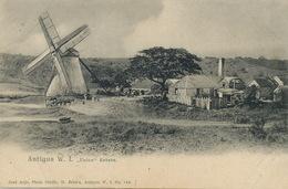"Antigua W.I. "" Union "" Estate Sugar Factory  Windmill Moulin à Vent. Edit José Anjo . Back Damaged - Antigua & Barbuda"