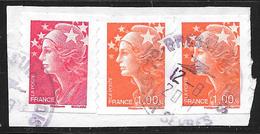 FRANCE Adhésifs 175 Et 2 X 215 Marianne De Beaujard Rouge Et 1.00 € Orange - Adhésifs (autocollants)