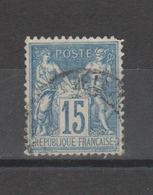 FRANCE / 1876-1898 / Y&T N° 90 : Sage Type II 15c Bleu - Choisi - Cachet Rond - 1876-1898 Sage (Type II)