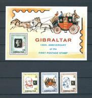 GIBRALTAR, 1990, 150th Anniversary Of The First Postage Stamp S/s + 4v MNH - Gibraltar