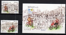 MALAYSIA , 2018, MNH, WORLD POST DAY, CICYCLES, MOTORBIKES, FARM ANIMALS, 2v+S/SHEET - Post