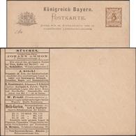 Bavière 1890, Carte Postale Annonces. Confection, Thé, Café, Sucre, Cuir, Parasol, Parapluie, Chaussures, Jeux De Jardin - Jeux