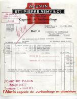 """Facture Avec Tampon  """"FOIRE De PARIS """" 1936 / 92 CLICHY / Capsule De Surbouchage ALUVIN / PIERRE REMY - France"""