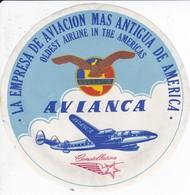 ANTIGUA ETIQUETA DE LA COMPAÑIA AEREA AVIANCA (AVION-PLANE) - Etiquetas De Equipaje