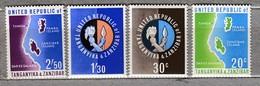 TANGANYIKA ZANZIBAR 964 Maps Coat If Arms MNH(**) Mi 1-4 #24074 - Tanzanie (1964-...)