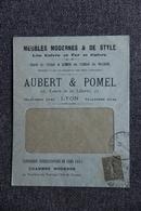 Timbre Sur Lettre Publicitaire - LYON, AUBERT Et POMEL, Lits Cuivre Et Fer. - France