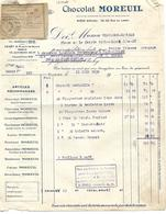 Facture Avec Récépissé  Mandat 1930 / 92 CLICHY / Chocolat MOREUIL / Thevenot 52 FAYL-BILLOT - France